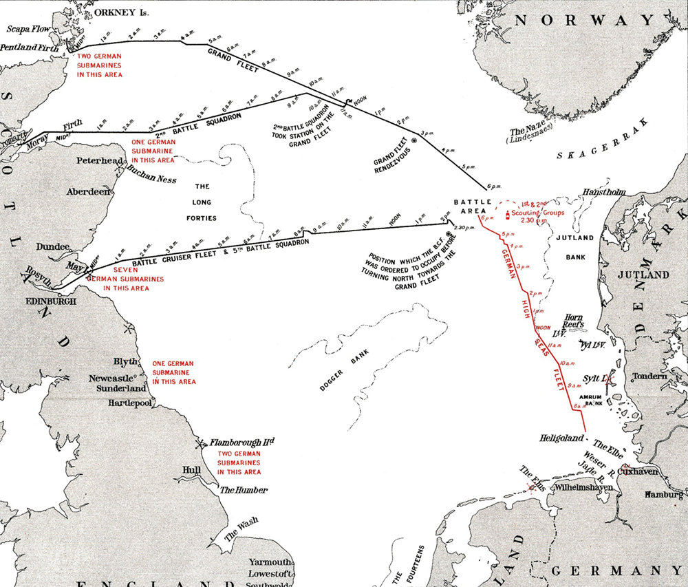 Map of the Battle of Jutland, showing the relative routes and positions of the Grand Fleet and the High Seas Fleet