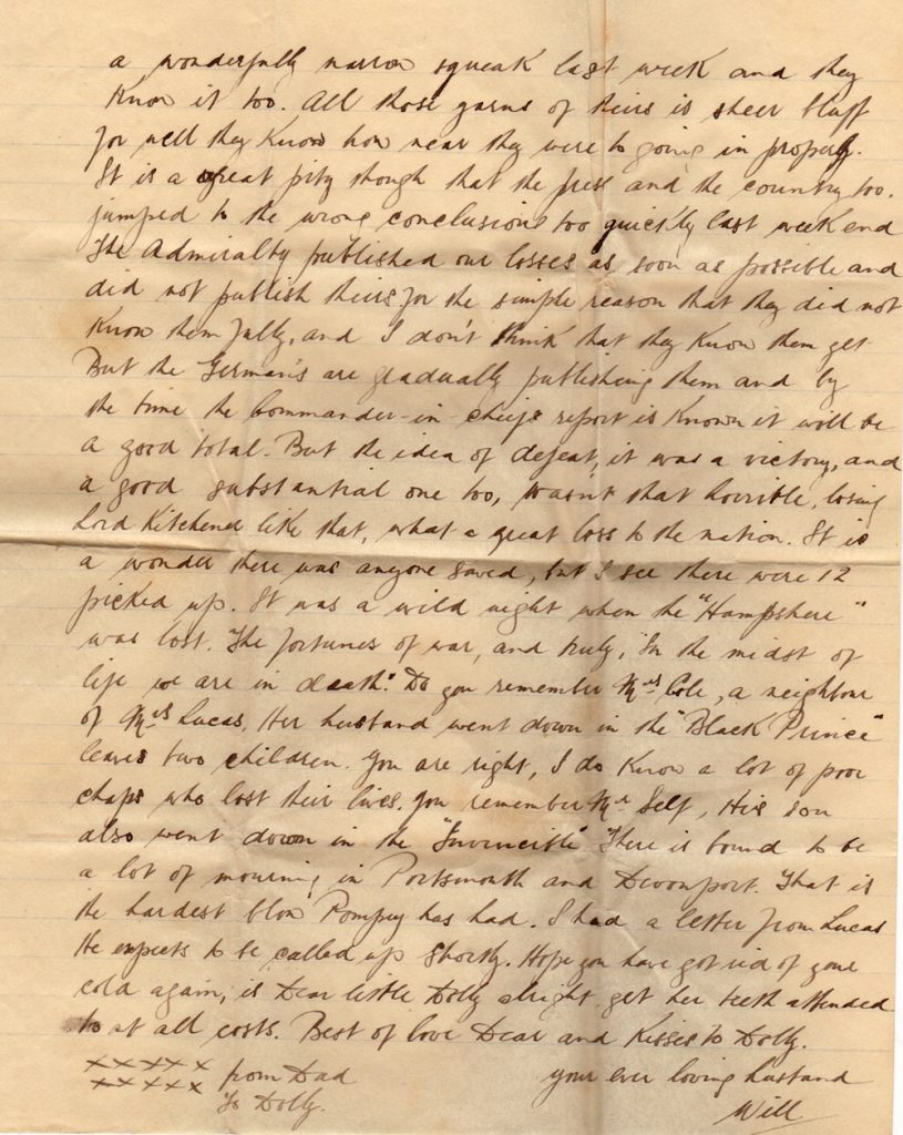 Letter 10th June from William Gray on board HMS Benbow