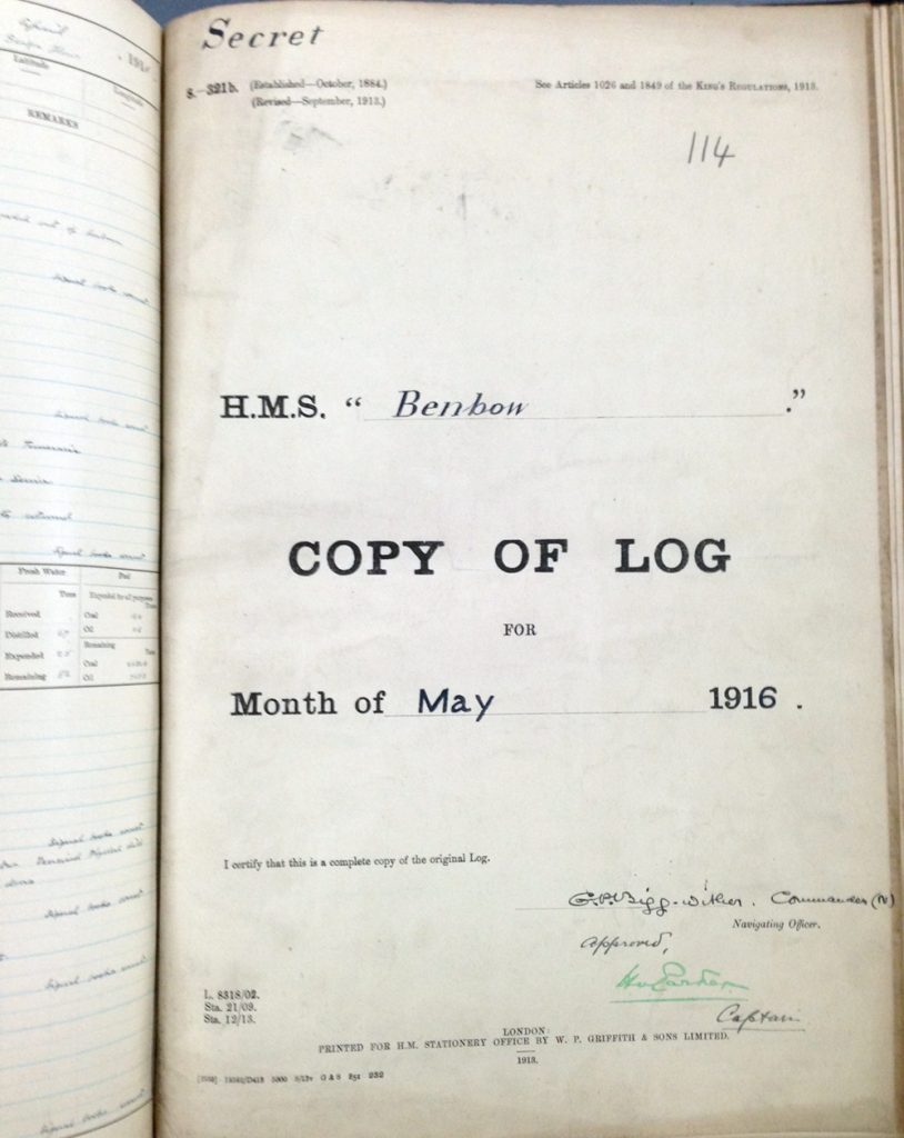 Ship's log for HMS Benbow (National Archives ADM 53/35121)