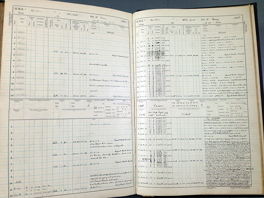 Ship's log for HMS Benbow (National Archives ADM 53/35121) for 30th and 31st of May 1916