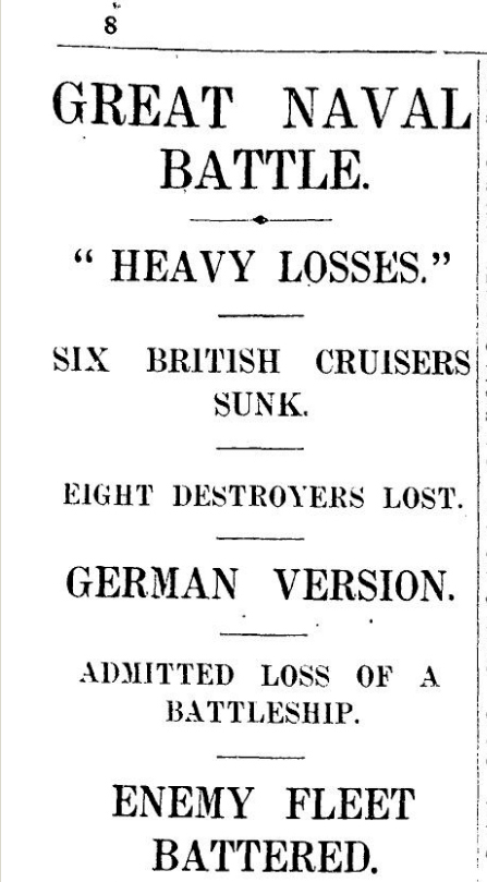 The Times, Saturday 3rd June 1916, page 8